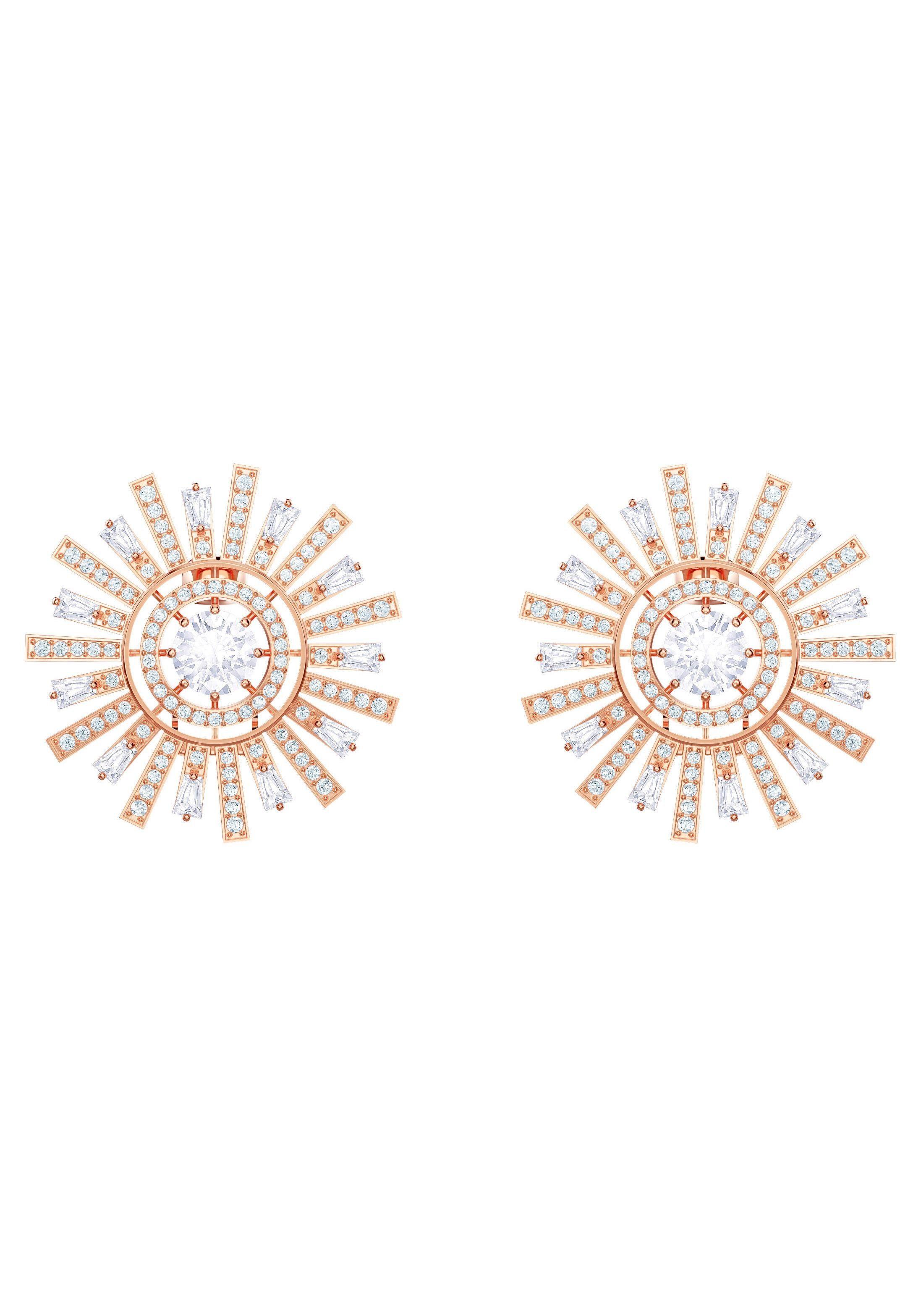 Swarovski Paar Ohrclips »Sunshine, weiss, rosé Vergoldung, 5464833« mit Swarovski® Kristallen
