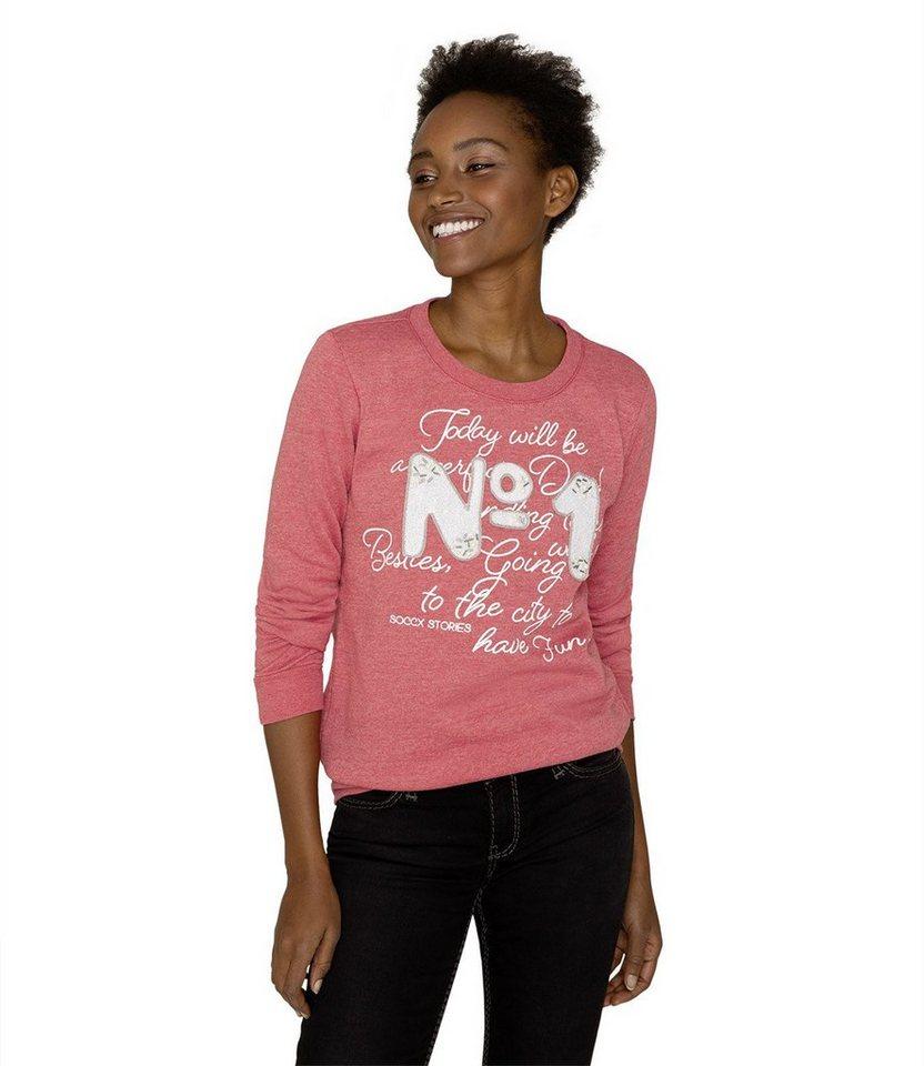 Damen SOCCX Sweater mit angerauter Innenseite blau, grau, rosa, rot, schwarz | 04048181999153