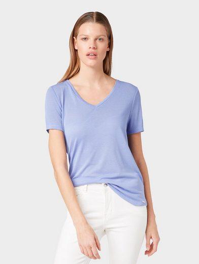 TOM TAILOR Denim Kurzarmshirt »T-Shirt mit V-Ausschnitt«