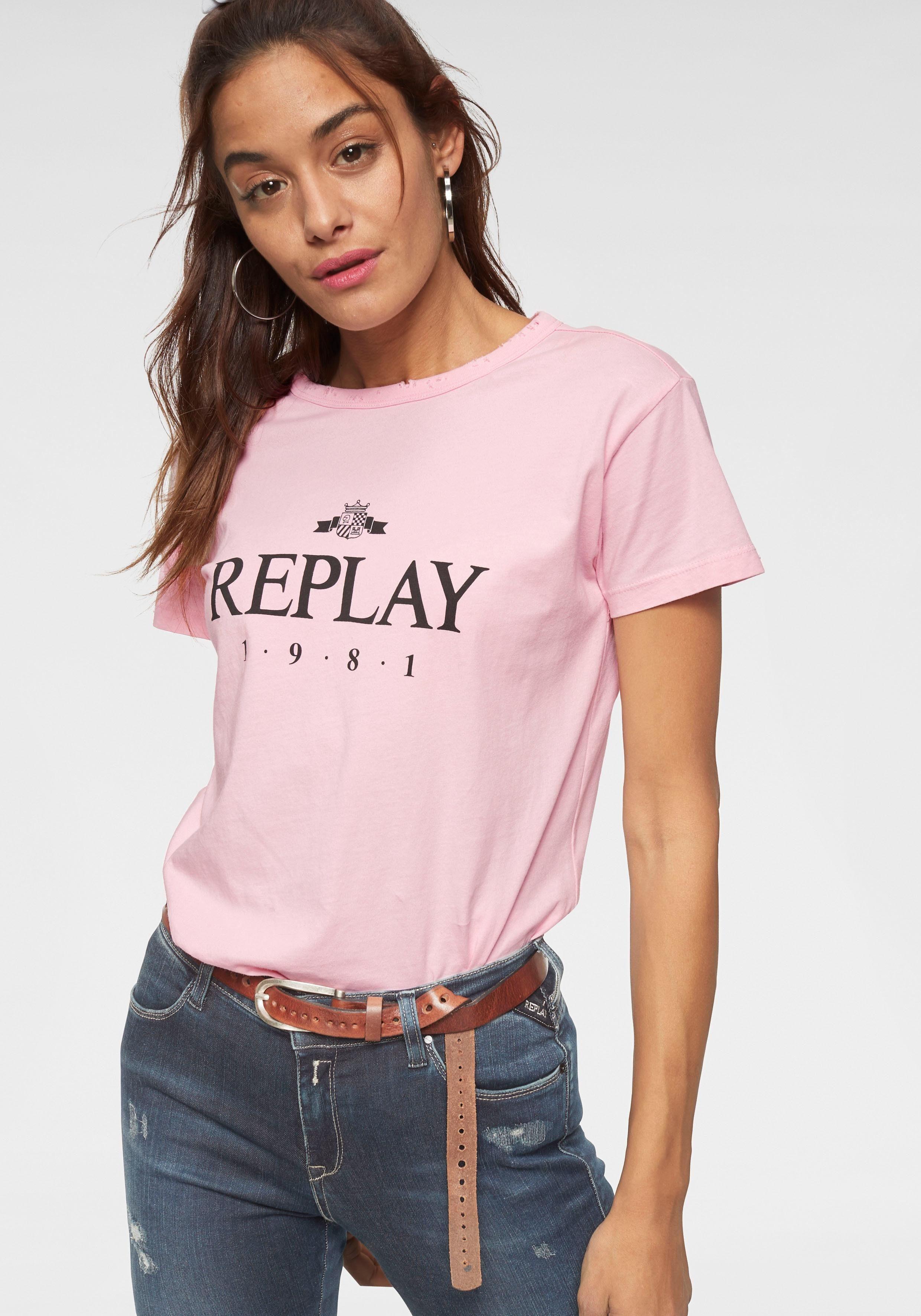 T Mit Markendruck Brusthöhe Auf shirt Replay OmNwyvn08