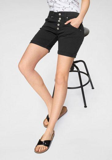 Please Jeans Jeansbermudas »P88A« coole Jeansshorts in bunter Farbpalette mit sichtbarer Knopfleiste und Gürtelschlaufen