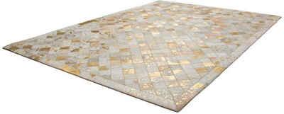 Lederteppich »Lavish 210«, Kayoom, rechteckig, Höhe 8 mm, Patchwork-echtes Leder-Fell, Wohnzimmer