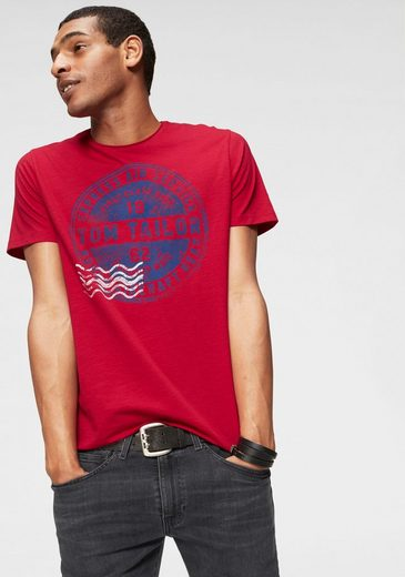 TOM TAILOR T-Shirt mit Print in used Optik
