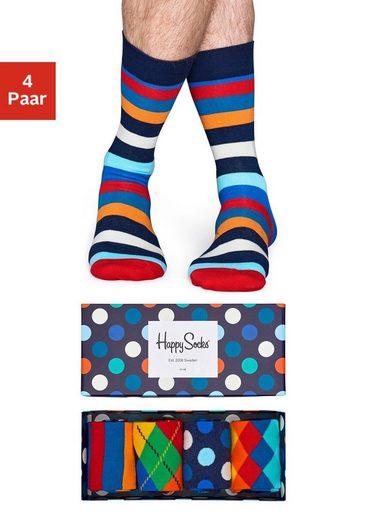 Happy Socks Socken (Box, 4-Paar) mit verschiedenen Mustern in der Box