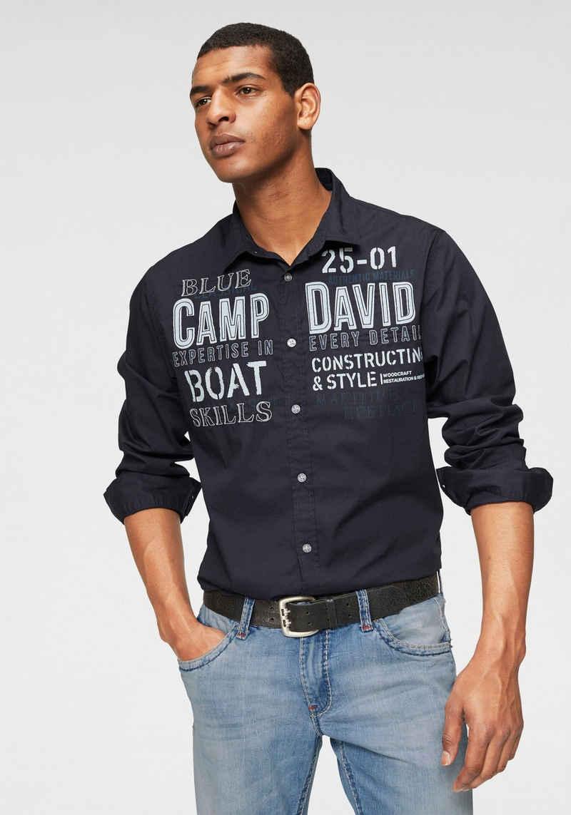 CAMP DAVID Langarmhemd mit Applikationen und Prints
