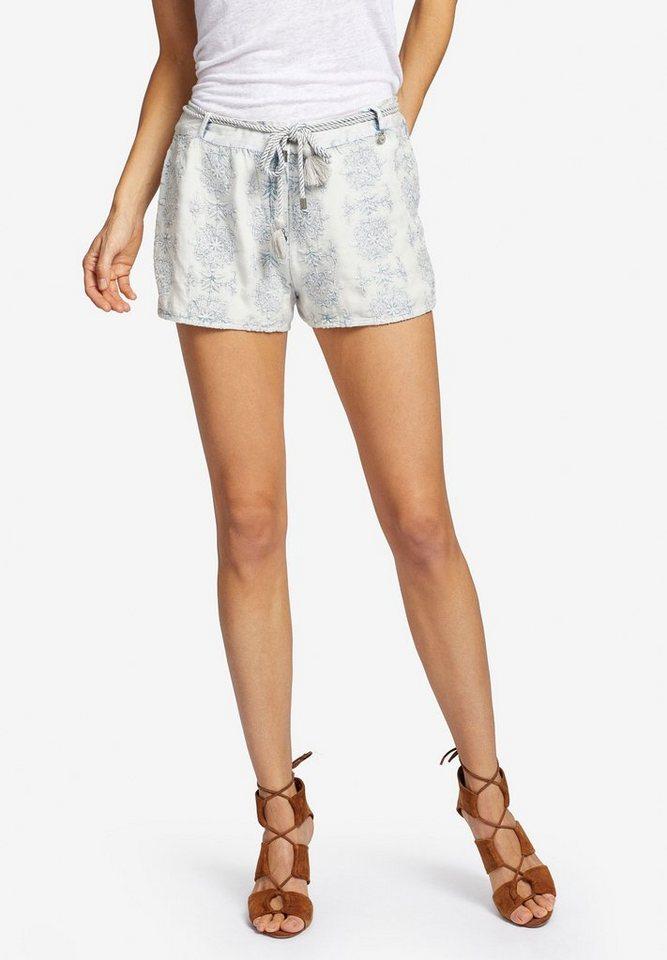 khujo Hotpants »MENDES« mit All-Over-Stickerei aus reiner Baumwolle | Bekleidung > Hosen > Hotpants | Grau | Baumwolle | khujo