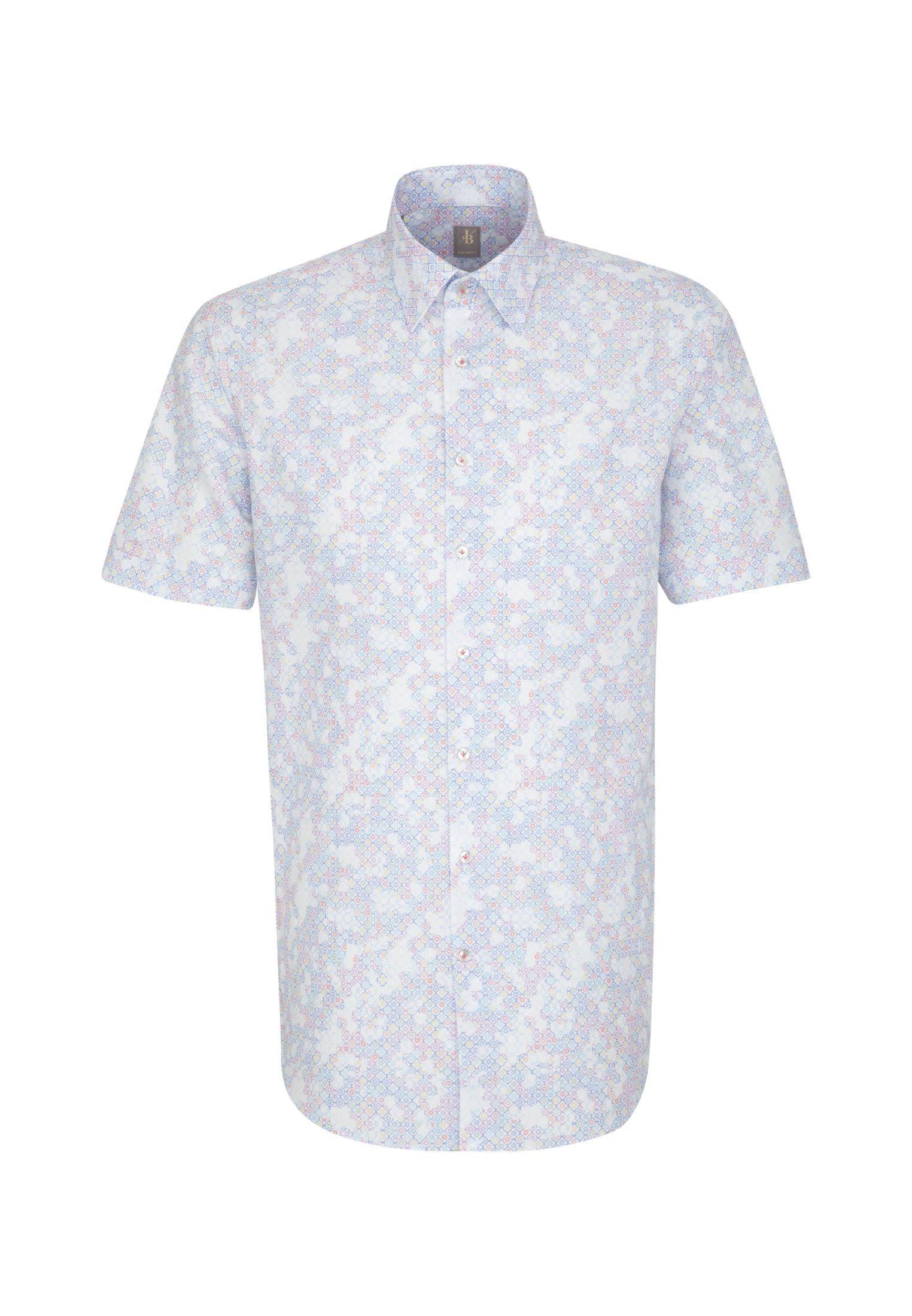 Jacques Britt Businesshemd »Custom Fit« Custom Fit Kurzarm Under-Button-Down-Kragen Print