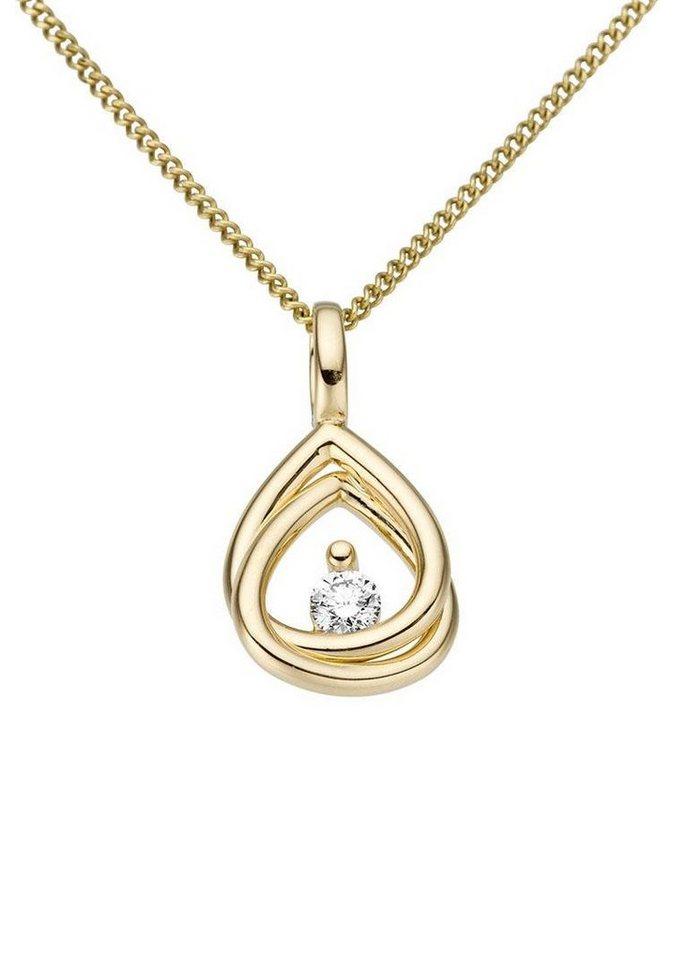 Firetti Kettenanhänger »Glanz, massiv« mit Brillanten | Schmuck > Halsketten > Kettenanhänger | Goldfarben | Firetti