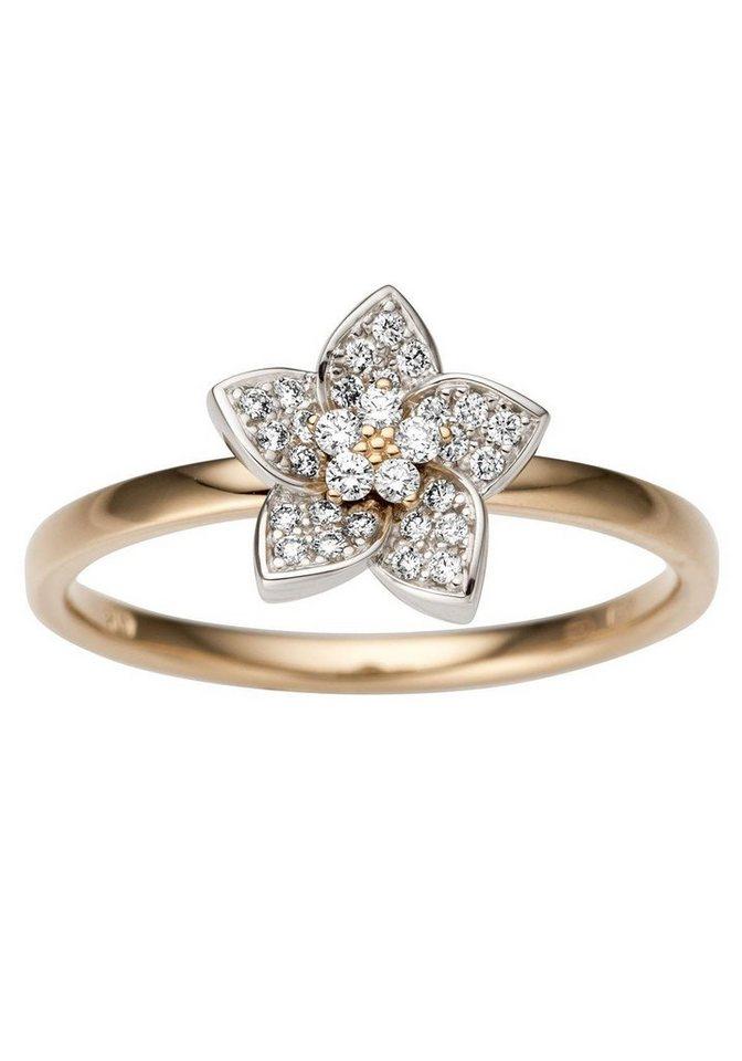 Firetti Goldring »Blume, Glanz, massiv« mit Brillanten   Schmuck > Ringe > Goldringe   Goldfarben   Firetti