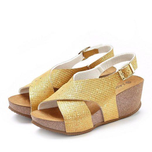 LASCANA Sandalette mit Keilabsatz und Korkfußbett