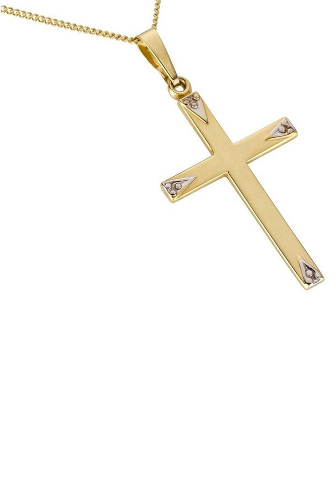 Firetti Kettenanhänger »Kreuz, glanz, rhodiniert, hohl« Made in Germany | Schmuck > Halsketten > Ketten ohne Anhänger | Goldfarben | Firetti