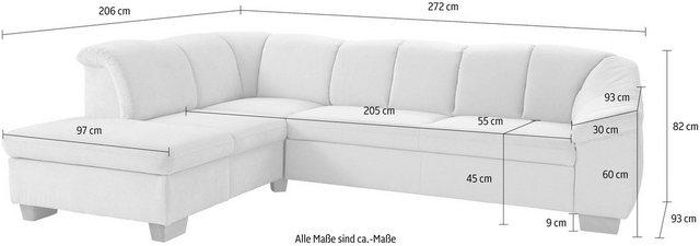 sit&more Ecksofa, mit Federkern, wahlweise mit Bettfunktion und Stauraum | Wohnzimmer > Sofas & Couches > Ecksofas & Eckcouches | Grau | sit&more