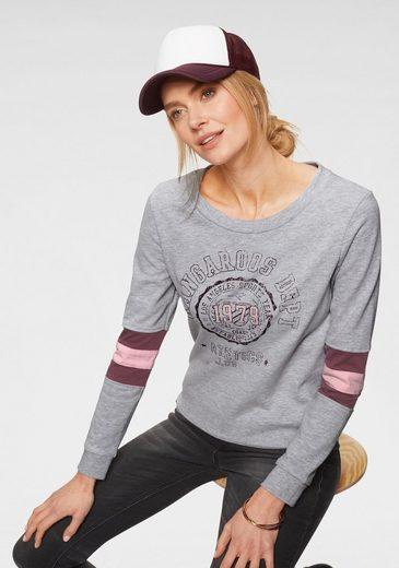 KangaROOS Sweatshirt mit sprotlichen Kontrasteinsätzen am Ärmel