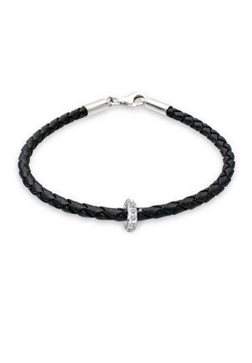 Elli Armband »Leder mit Bead Swarovski® Kristalle 925 Silber«