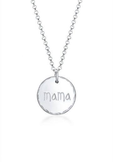 Elli Collierkettchen »Mama Schriftzug Muttertag Gehämmert 925er Silber«