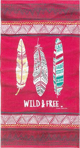 Strandtuch »Wild & Free«, TOM TAILOR, mit Federn und Schriftzug