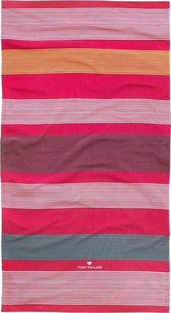 Strandtuch »Streifen«, TOM TAILOR, mit harmonischen Streifen | Bad > Handtücher > Saunatücher | Rot | Baumwolle | TOM TAILOR