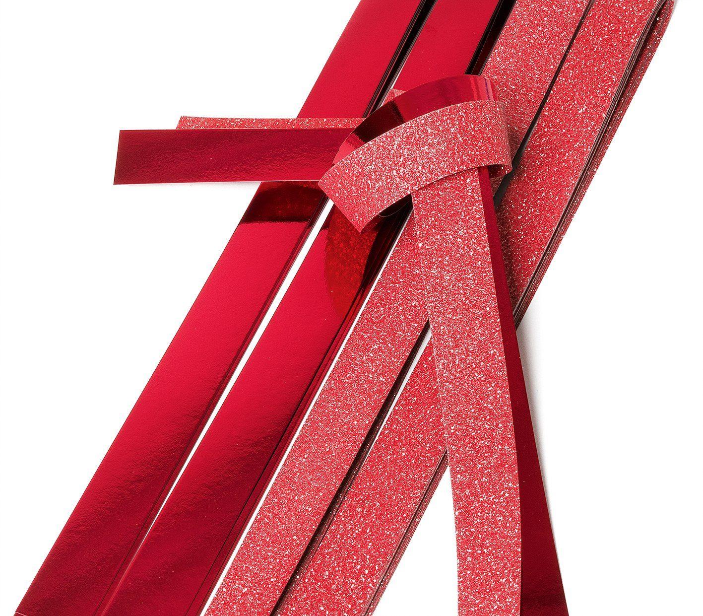 """Papierstreifen glänzend """"Glitter, rot"""" 12 Streifen XXL-Format"""