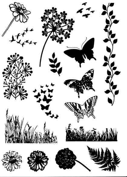"Silikonstempel-Set ""Clear Stamps Seasonal Flowers"" 17 Stück"