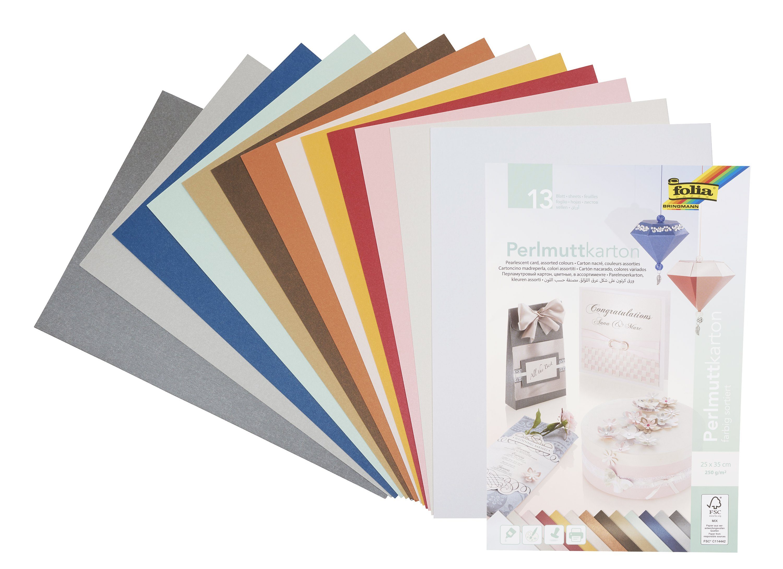 Folia Perlmuttkarton farbig sortiert 13 Blatt