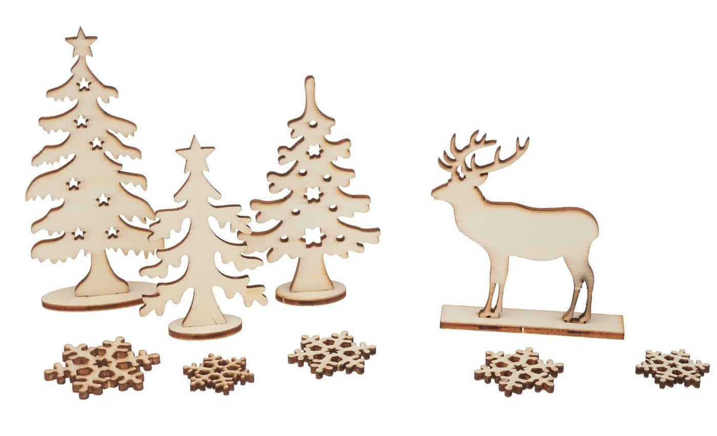 Holz-Steckmotiv ´´Hirsch im Wald´´ 13 Teile