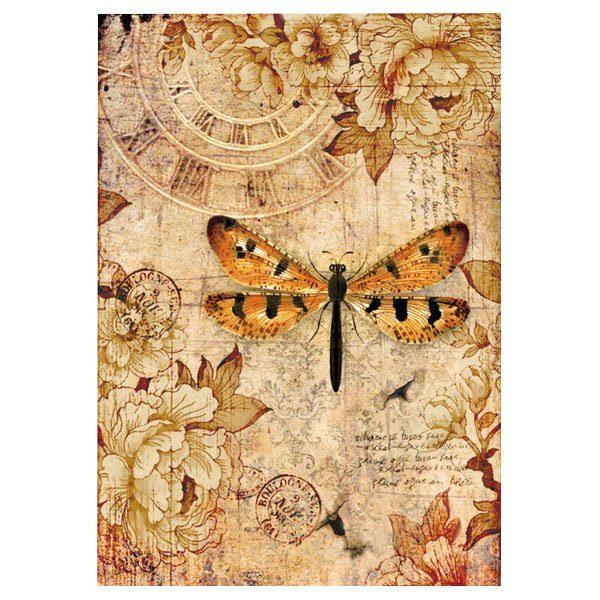 """Stamperia Motiv-Strohseide """"Vintage Libelle"""" DIN A4"""