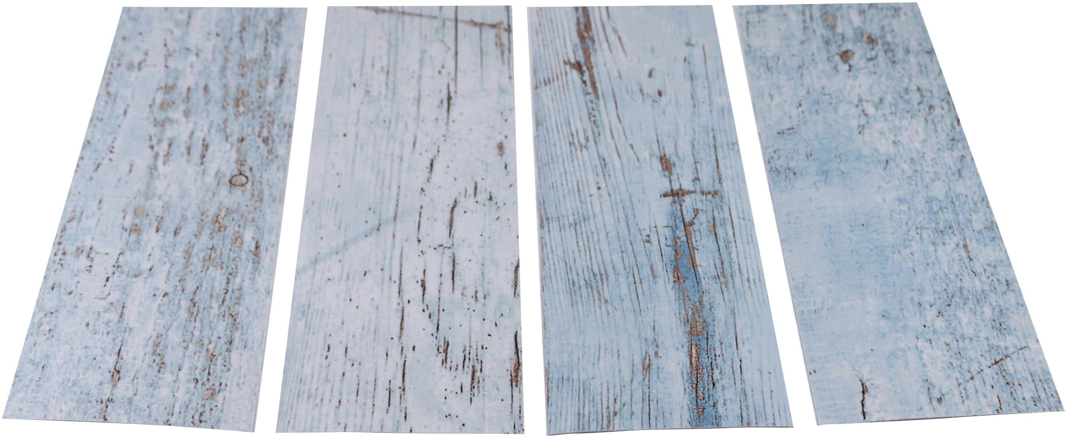 MYSPOTTI Duscheinlage »Klebefliese stepon Wood Light Blue«, Set 4-teilig, Antirutsch-Aufkleber