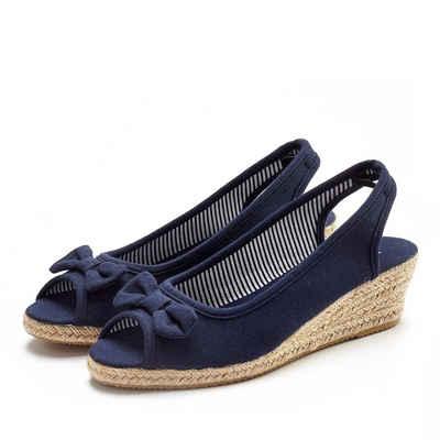 f9060feec7ed0a LASCANA Sandalette aus Textil mit Keilabsatz