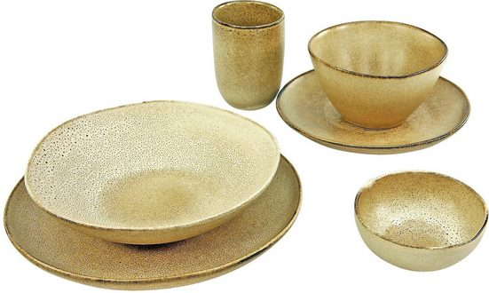 CreaTable Single Geschirr-Set »Sahara« (6-tlg), Steinzeug