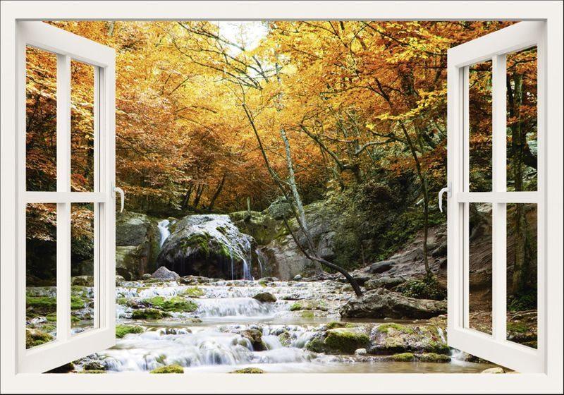 Artland Wandfolie »Irochka: Fensterblick - Herbstlicher Wasserfall«