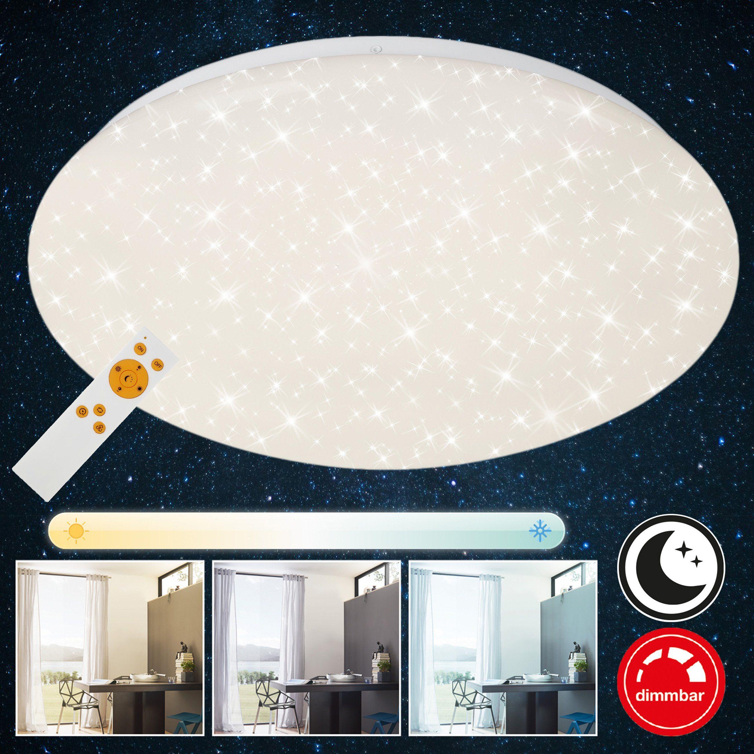 Briloner Leuchten LED Deckenleuchte »Luna«, 1-flammig, Sternenhimmel dimmbar, Nachtlichtfunktion, Ø 39cm