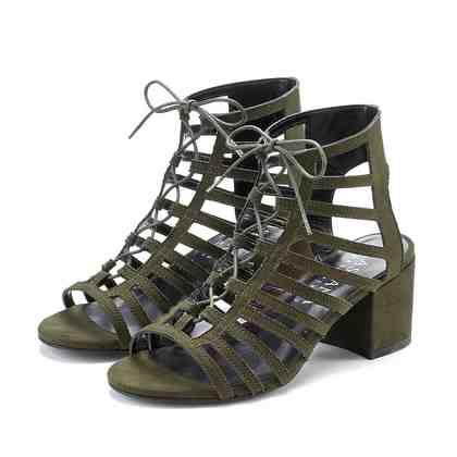 LASCANA Sandalette aus Velourslederimitat mit Blockabsatz