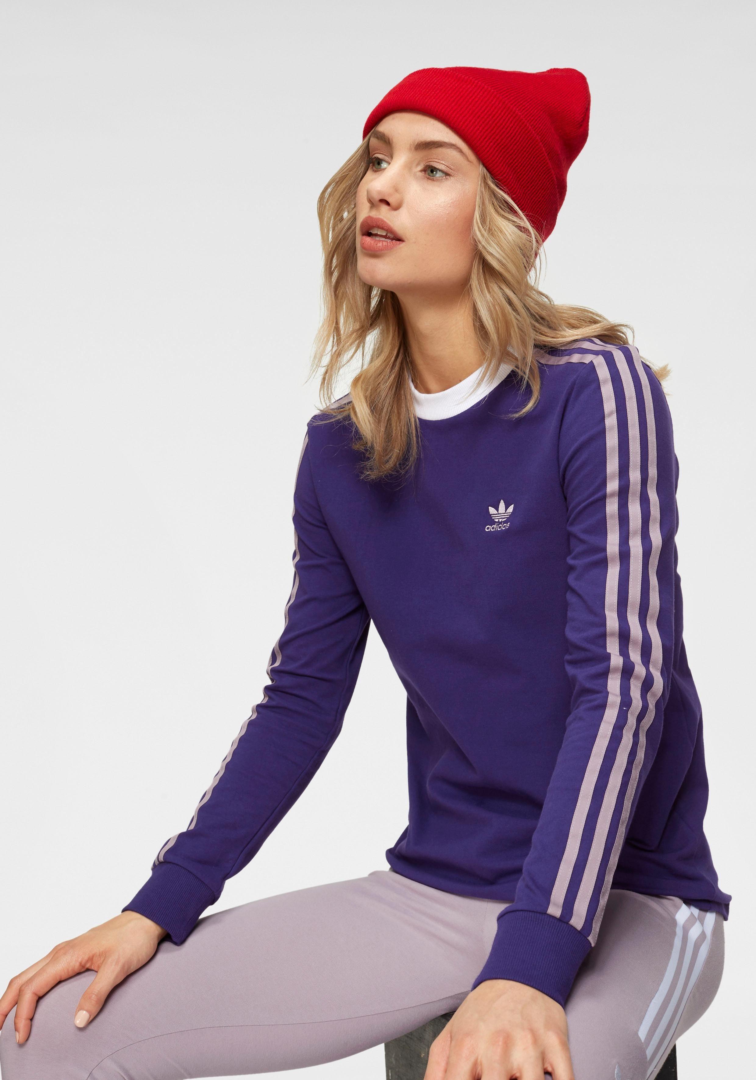 adidas Originals Langarmshirt »3 STRIPES LONGSLEEVE TEE«, Rippbündchen und Kragen online kaufen | OTTO