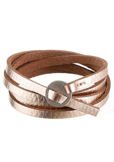 J.Jayz Lederarmband »in Metallic-Optik, Wickelarmband«
