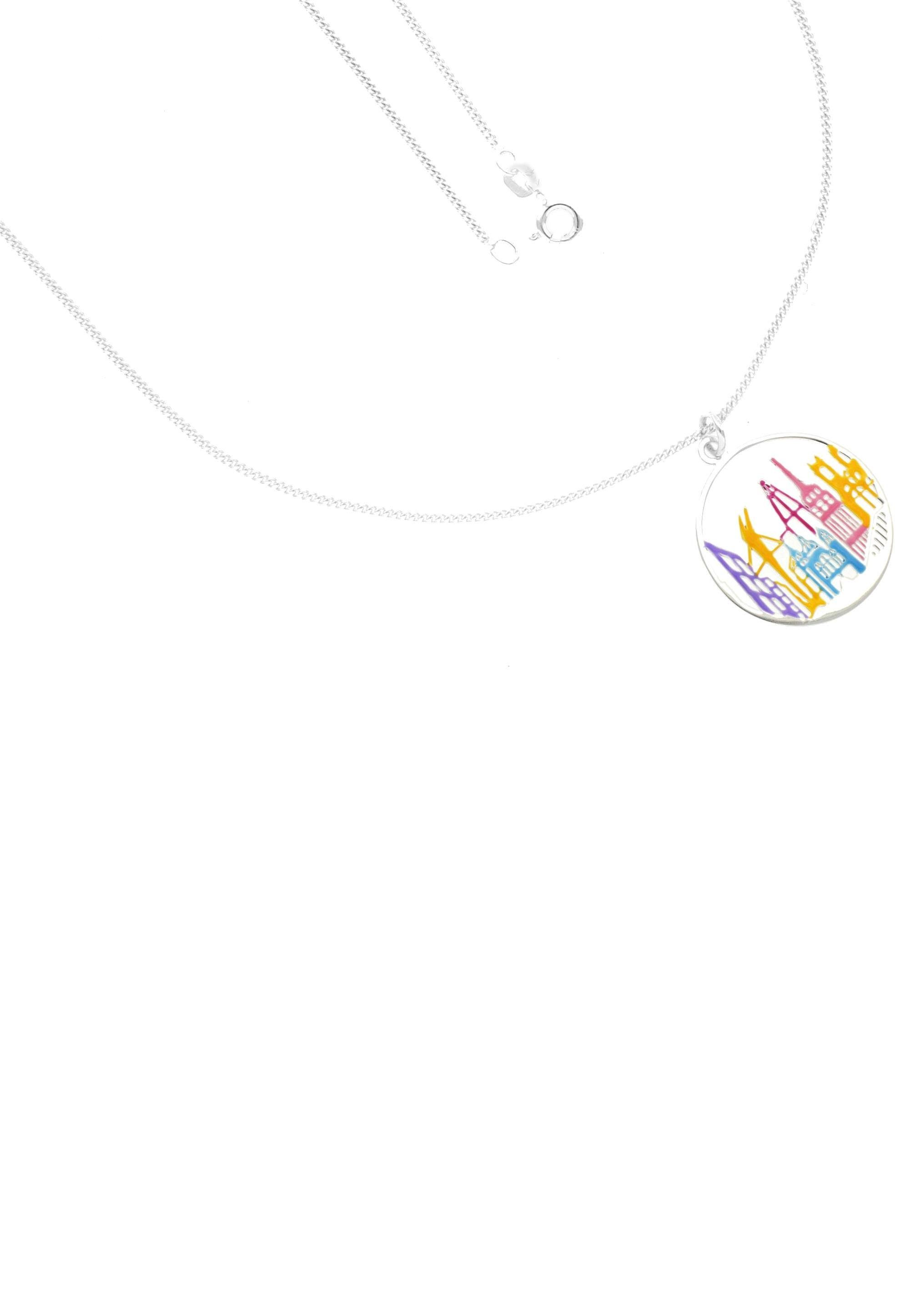 Firetti Kette mit Anhänger »Skyline, rund mit Lack in Pastellfarben, glanz«