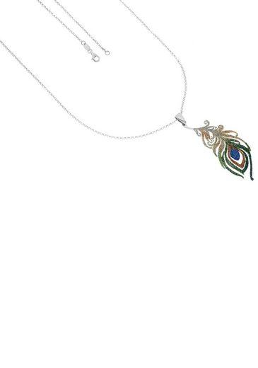 Firetti Kette mit Anhänger »Pfauenfeder, rhodiniert, diamantiert, glanz, Anhänger: Glanz mit Glitter«
