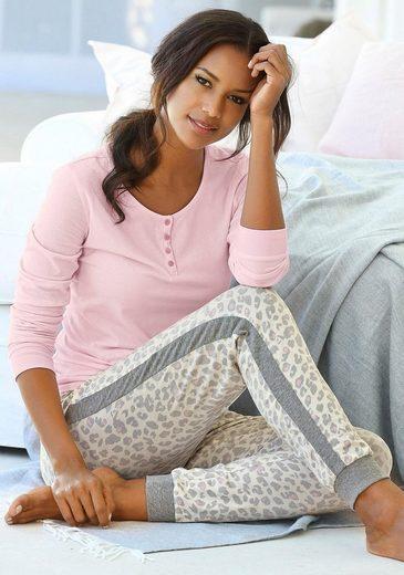 s.Oliver Bodywear Pyjama mit seitlichen Streifen am Bein
