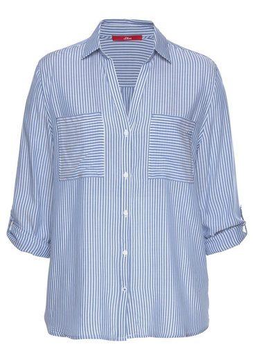 Brusttaschen Blau weiß S Mit Label Tollen Red Hemdbluse Aufgesetzten oliver 8ONknwPX0