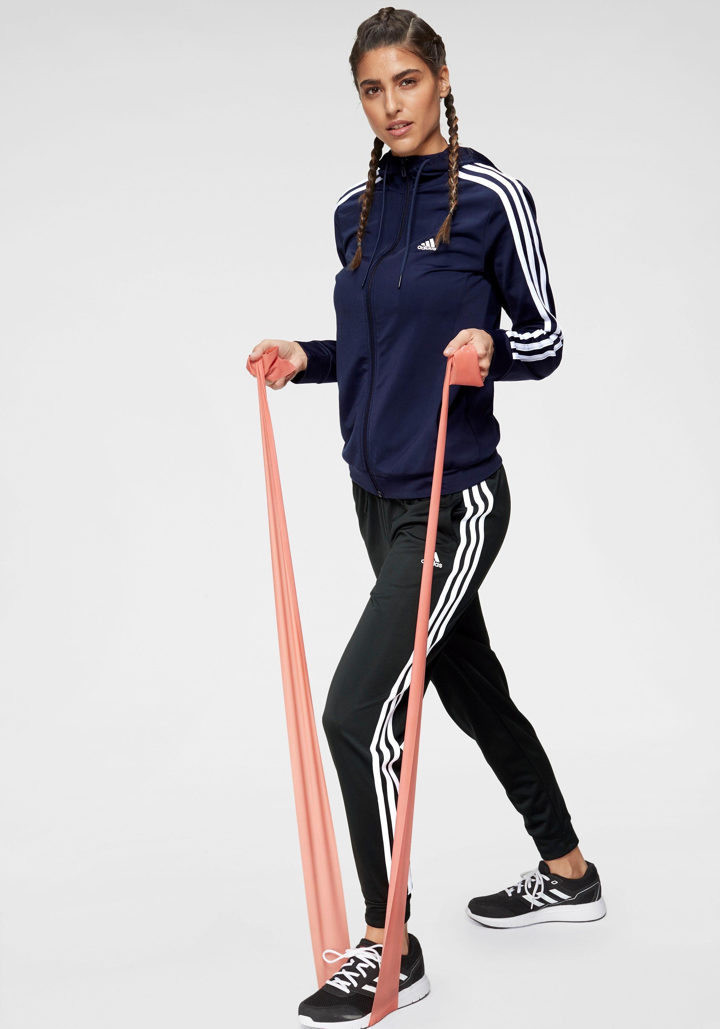 OTTO Damen adidas Performance Trainingsanzug »OSR POLYESTER 3 STRIPES TRACKSUIT« (Set, 2 tlg) blau, rosa | 04062052223819