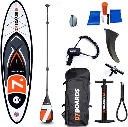 D7 Inflatable SUP-Board »D7 Universal Plus 10.6«, (Set, 5 tlg., mit Paddel, Pumpe und Transportrucksack)