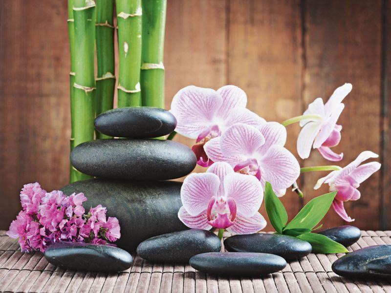 Artland Wandfolie »scorpp: Spa Konzept mit Zen Steinen und Orchideen«