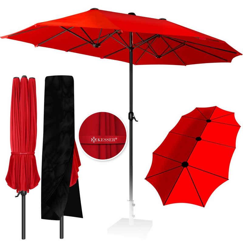 KESSER Ampelschirm, Sonnenschutzschirm Doppelt Gartenschirm Marktschirm Terrassenschirm mit Handkurbel, Oval, aluminium UV beständig wasserabweisend