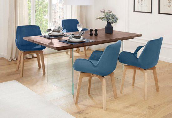 Home affaire Esstisch »Megan«, aus massivem Akazienholz, mit modernen Glasbeinen, in unterschiedlichen Tischbreiten erhältlich