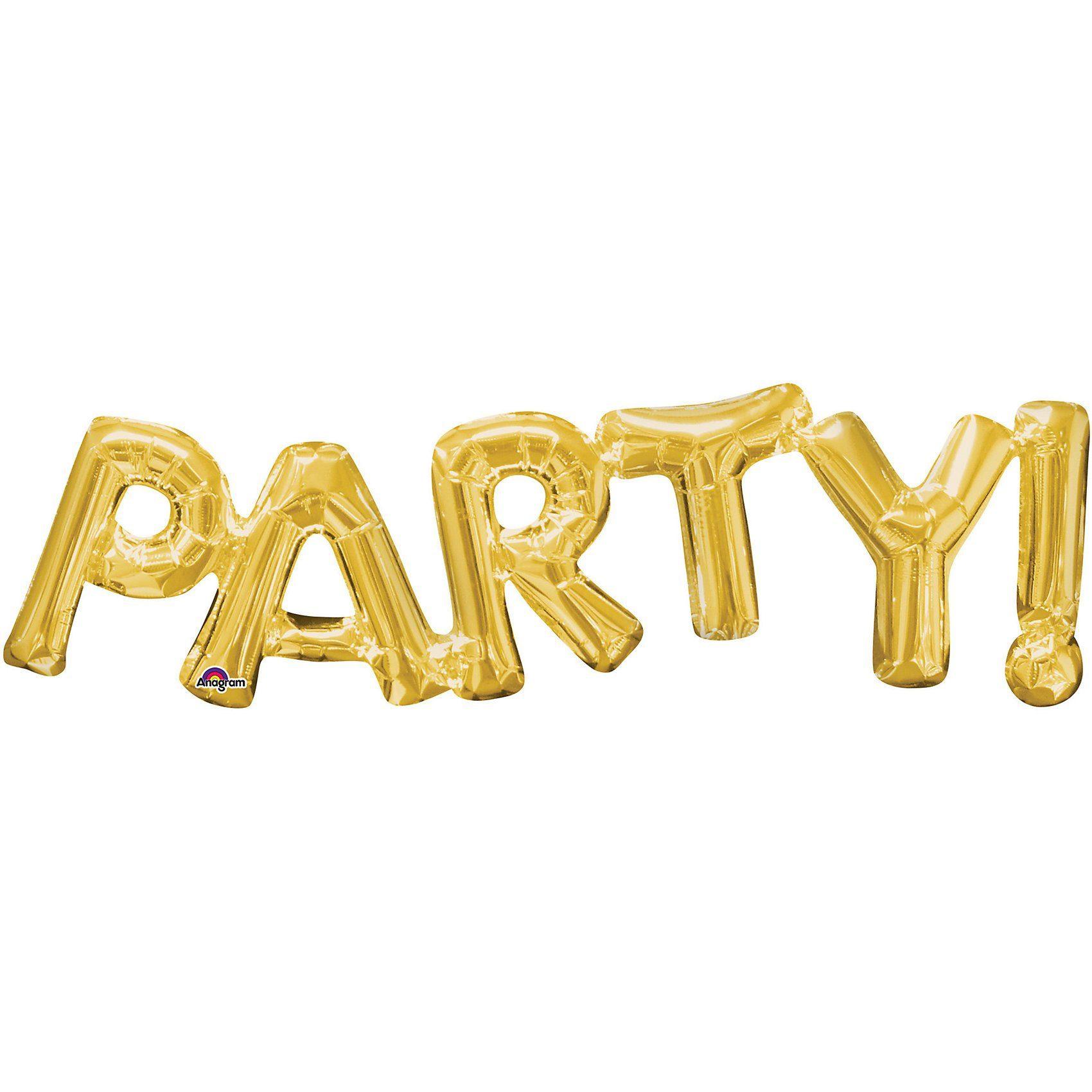 Amscan Folienballon SuperShape Schriftzug Party, gold