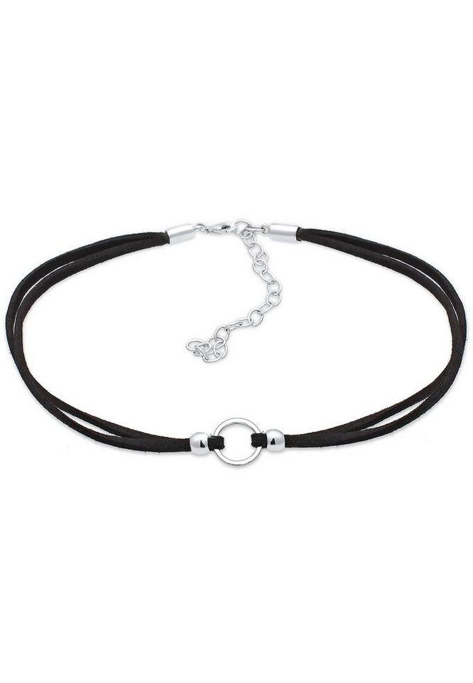 elli -  Collierkettchen »Trend Choker Kreis Band schwarz 925 Silber«