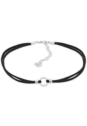 Elli Collierkettchen »Halsband schwarz Choker mit Kreis 925 Silber«