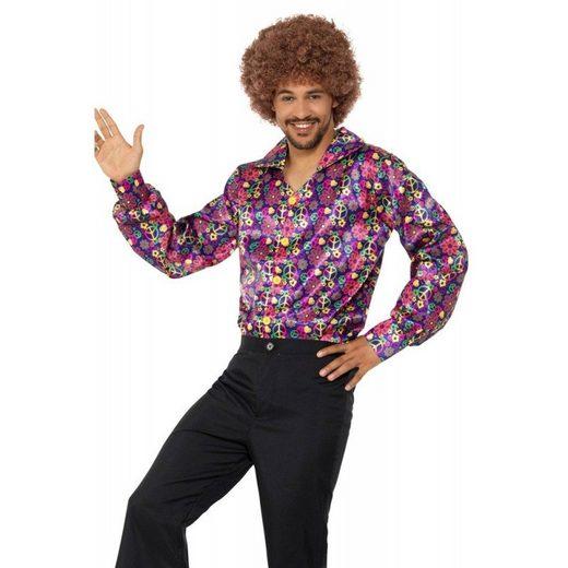 Buntes Flower Peace Hippie Hemd für Herren