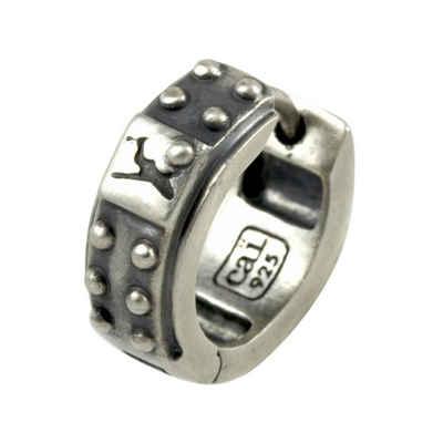 CAÏ Klappcreolen »925/-Sterling Silber rhodiniert matt oxidiert«, mit Geschenketui