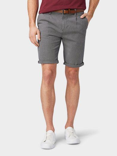 TOM TAILOR Denim Shorts »Strukturierte Slim Chino Shorts mit Gürtel«