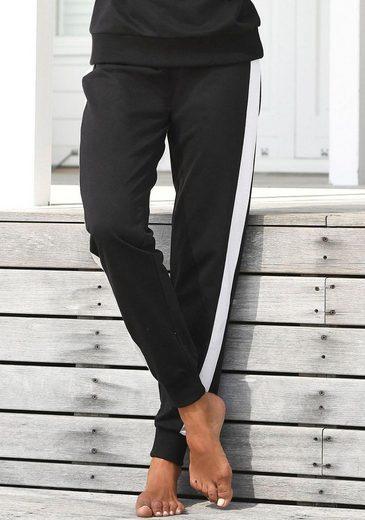 s.Oliver Bodywear Sweathose mit bedrucktem Bund und seitlichen Streifen